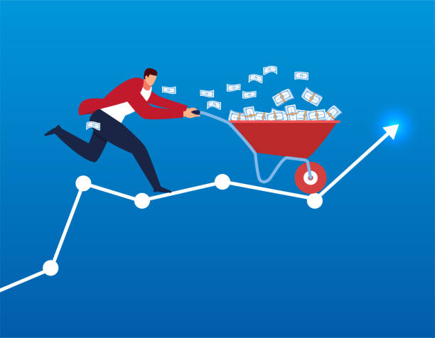 businessman pushing a trolley full of money to fly on bar graph - sprzedawać stock illustrations