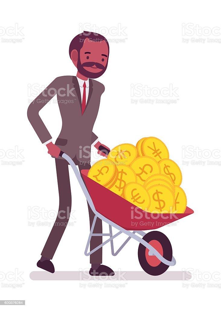 Businessman pushing a wheelbarrow full of golden coins businessman pushing a wheelbarrow full of golden coins - stockowe grafiki wektorowe i więcej obrazów banknot royalty-free
