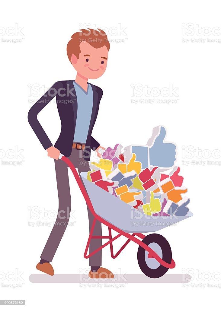 Businessman pushing a wheelbarrow full of likes businessman pushing a wheelbarrow full of likes - arte vetorial de stock e mais imagens de acordo royalty-free