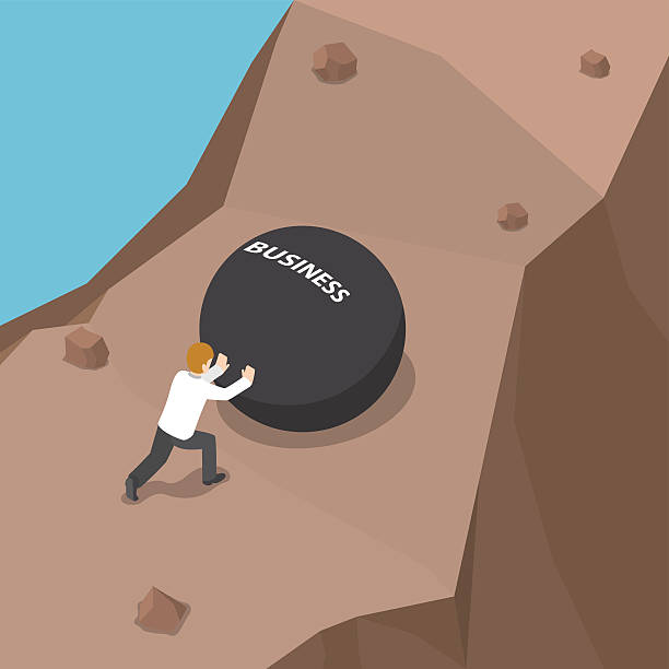 Top 60 Pushing Rock Uphill Clip Art, Vector Graphics and ...