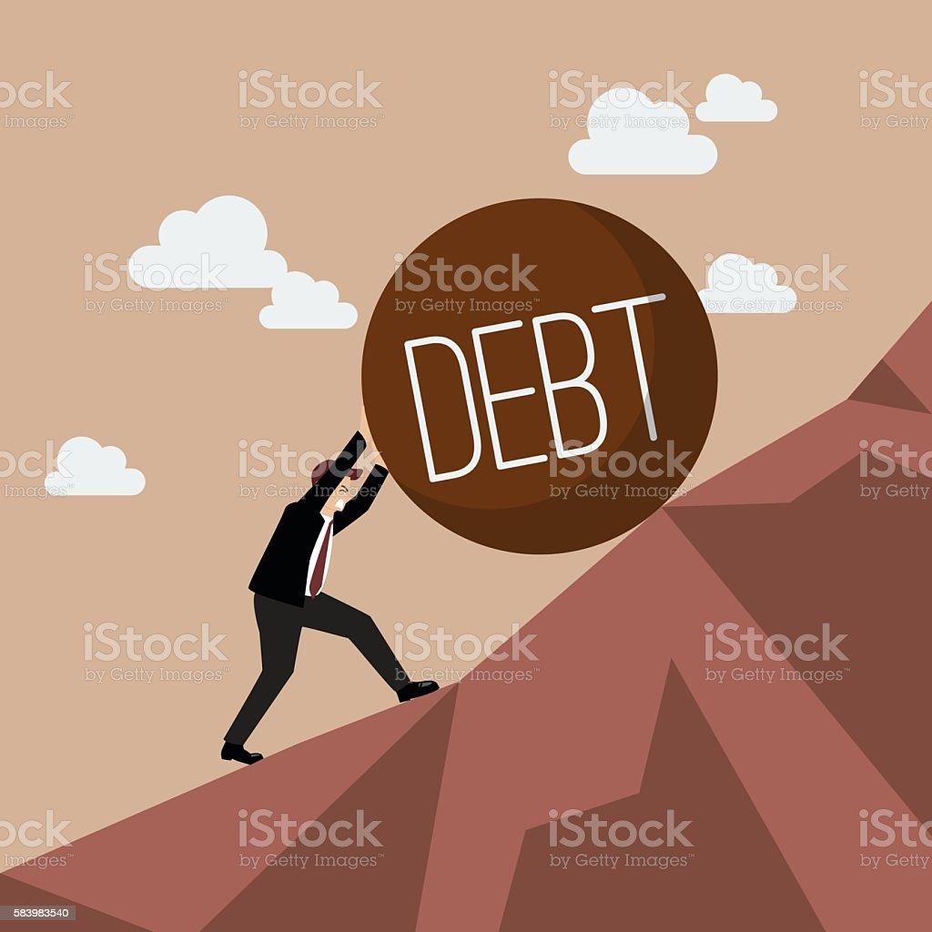 Businessman pushing heavy debt uphill vector art illustration