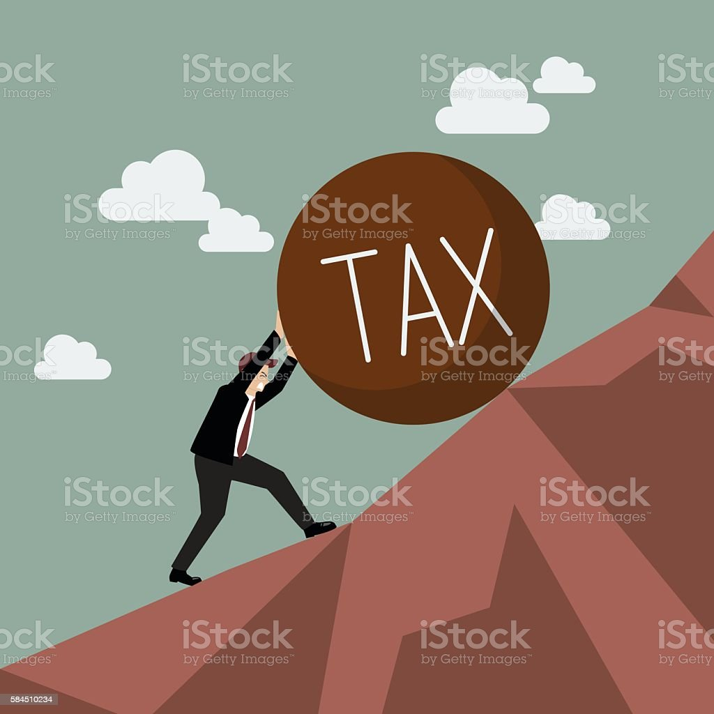 Businessman pushing heavy tax uphill vector art illustration