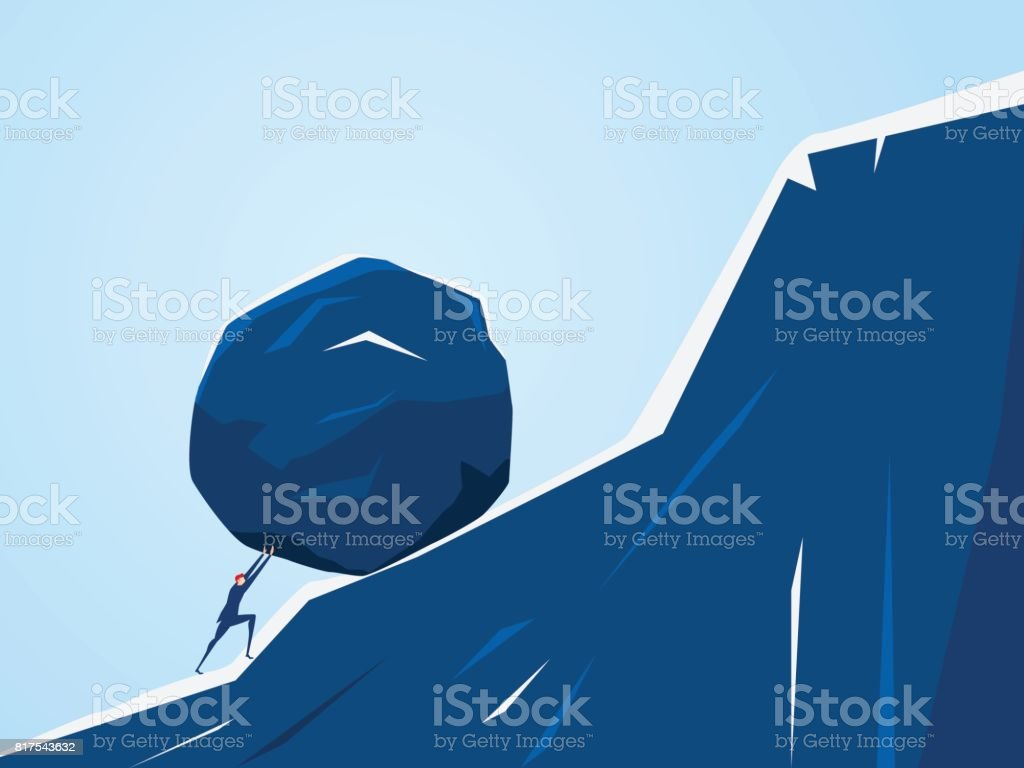 Businessman pushing huge stone up the hill. Business problem crisis hardship and burden concept. vector art illustration