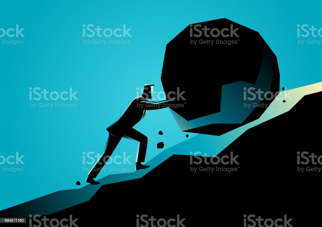 Businessman pushing large stone uphill vector art illustration