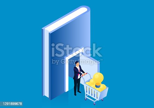istock Businessman pushing light bulbs full of carts out of books, book knowledge and creativity 1291899678
