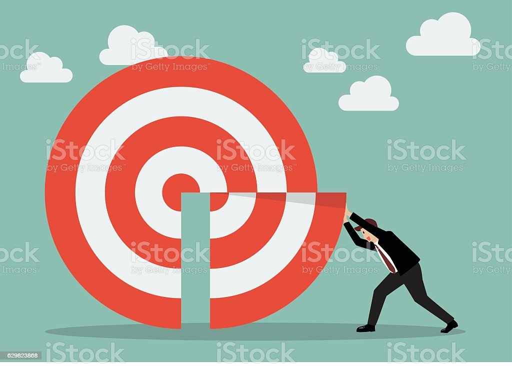 Businessman pushing missing piece in big target vector art illustration