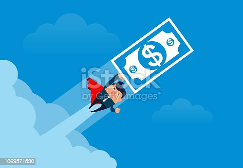 Businessman pushing money to the sky