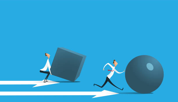Businessman pushing sphere Businessman pushing sphere and leading the race against group other not so lucky guy pushing boxes. Concept of innovation in business, winning strategy, efficiency. Vector rolling stock illustrations