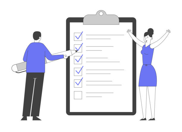 Businessman Put Marks into Check Boxes Filling Checklist on Huge Clipboard, Businesswoman Rejoice with Hands Up. Searching Solution and Thinking New Idea. Cartoon Flat Vector Illustration, Line Art Businessman Put Marks into Check Boxes Filling Checklist on Huge Clipboard, Businesswoman Rejoice with Hands Up. Searching Solution and Thinking New Idea. Cartoon Flat Vector Illustration, Line Art human limb stock illustrations