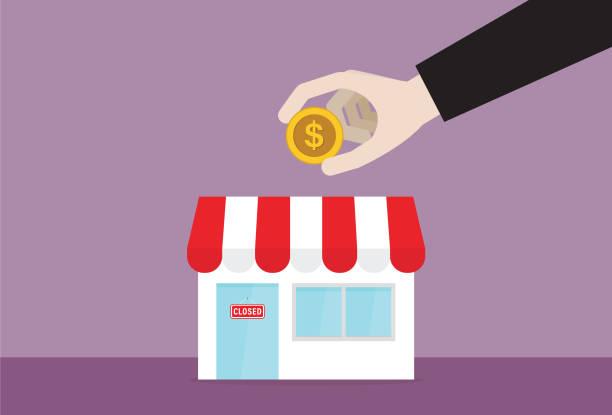 ilustraciones, imágenes clip art, dibujos animados e iconos de stock de empresario poniendo una moneda de dólar en una tienda - small business