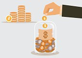 businessman putting a dollar coin into glass bottle. vector illustration