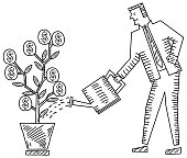 Businessman Putting Water To Dollar Plant in this file all elements,separate grouped and separate layered and easy to edit
