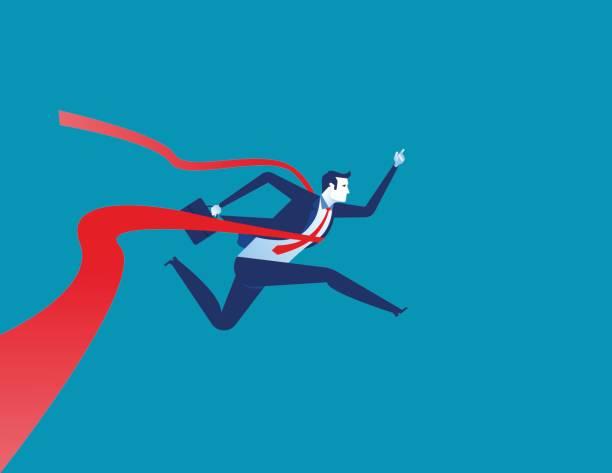 Businessman reaching the finish line. Concept business vector illustration. vector art illustration