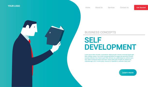 businessman reading a book with his head. business concepts. - vector - school counselor stock illustrations, clip art, cartoons, & icons