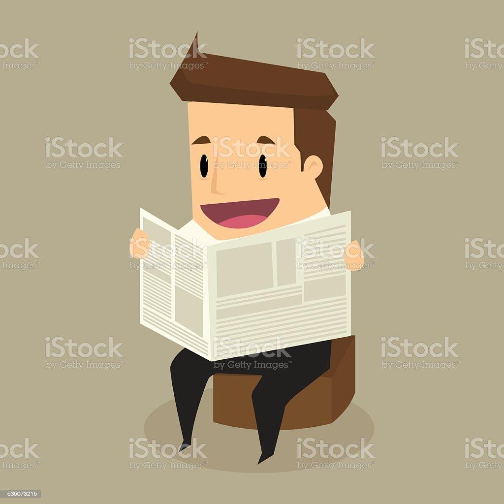 businessman reading a newspaper vector art illustration