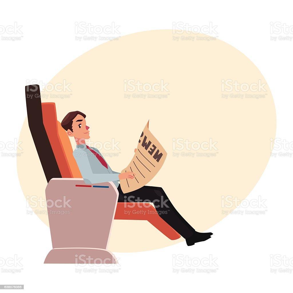 Businessman reading newspaper in business class airplane seat - Векторная графика Бизнес роялти-фри