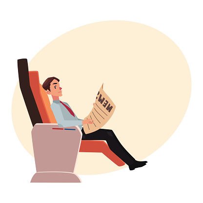 Businessman Reading Newspaper In Business Class Airplane Seat — стоковая векторная графика и другие изображения на тему Бизнес