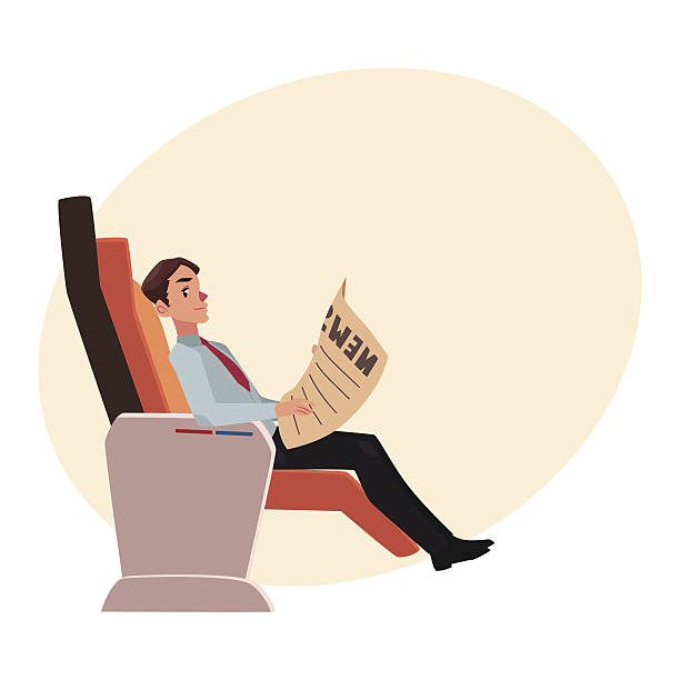 businessman reading newspaper in business class airplane seat - airplane seat stock illustrations
