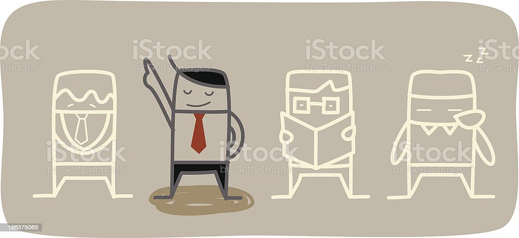 businessman ready to be different vector art illustration