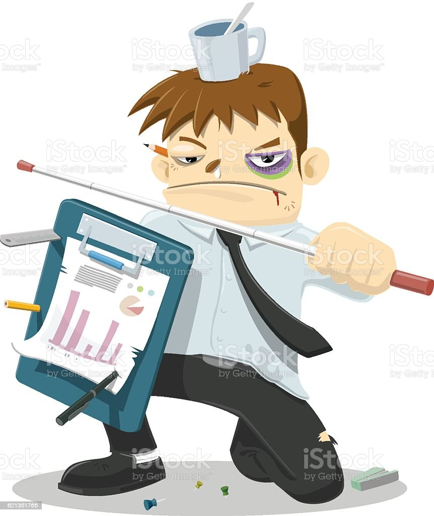 Businessman ready to fight vector art illustration