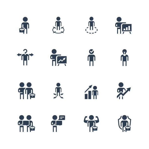 문화 스타일로 설정 된 실업가 관련 벡터 아이콘 - 세로 구도 stock illustrations