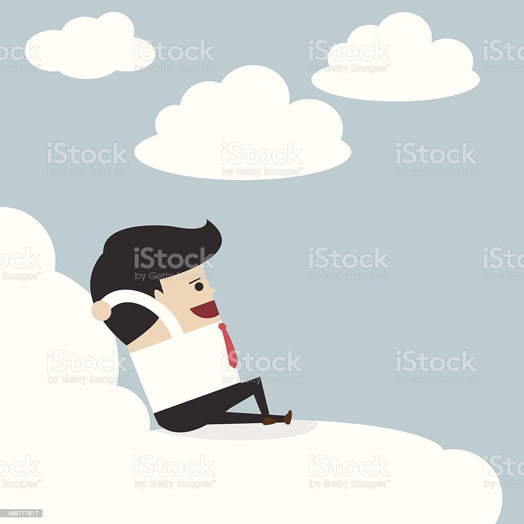 Businessman relaxing on a cloud vector art illustration