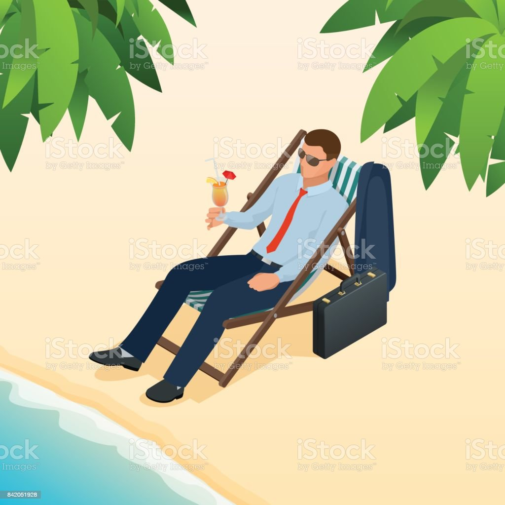 businessman relaxing on his sun lounger on the beach isometric