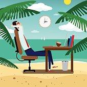 Businessman relaxing on tropical beach