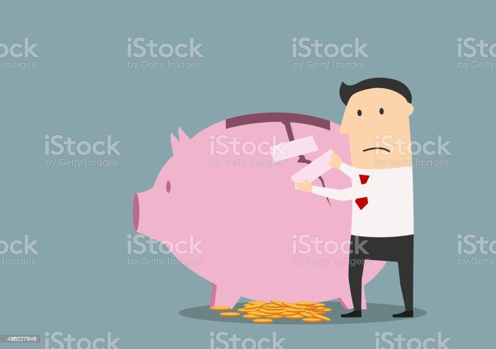 Businessman repairing cracked piggy bank vector art illustration