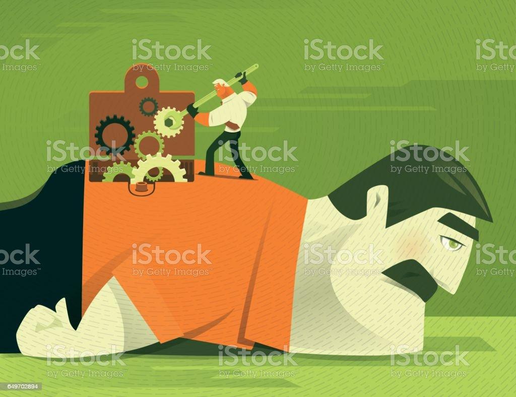 businessman repairing vector art illustration