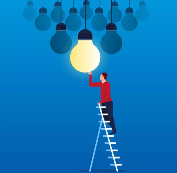 geschäftsmann ersetzt neue glühbirne - glühbirne auswechseln stock-grafiken, -clipart, -cartoons und -symbole