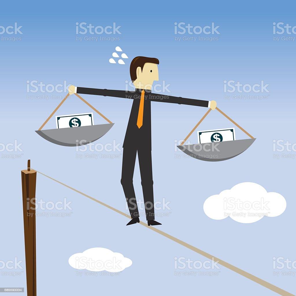 Businessman resolves the tangle向量藝術插圖