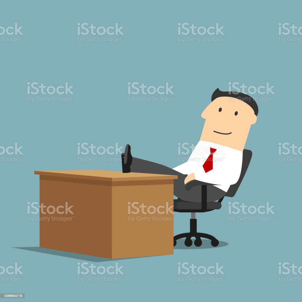 Businessman resting with feet on the table vector art illustration