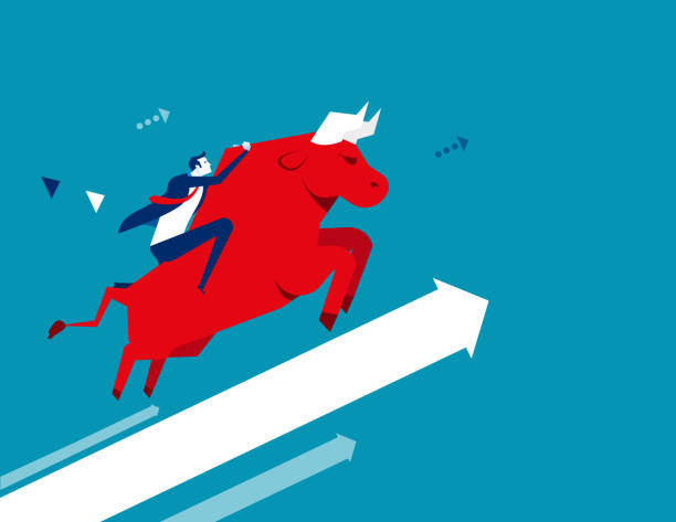 Businessman ride a bull. Concept business vector illustration. Flat design style. vector art illustration