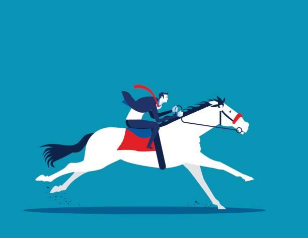 Businessman ride a horse. Concept business vector illustration. vector art illustration