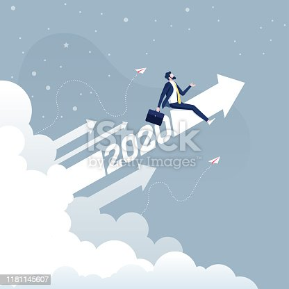 Businessman riding 2020 arrow going up-Business concept