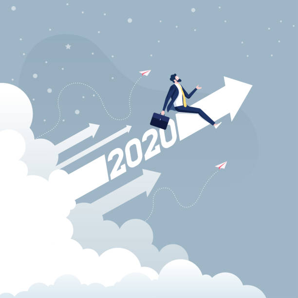 Businessman riding 2020 arrow going up-Business concept Businessman riding 2020 arrow going up-Business concept ceo stock illustrations