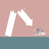 A businessman riding a bicycle under the arrow. The background is brown and the ground is blue-gray.