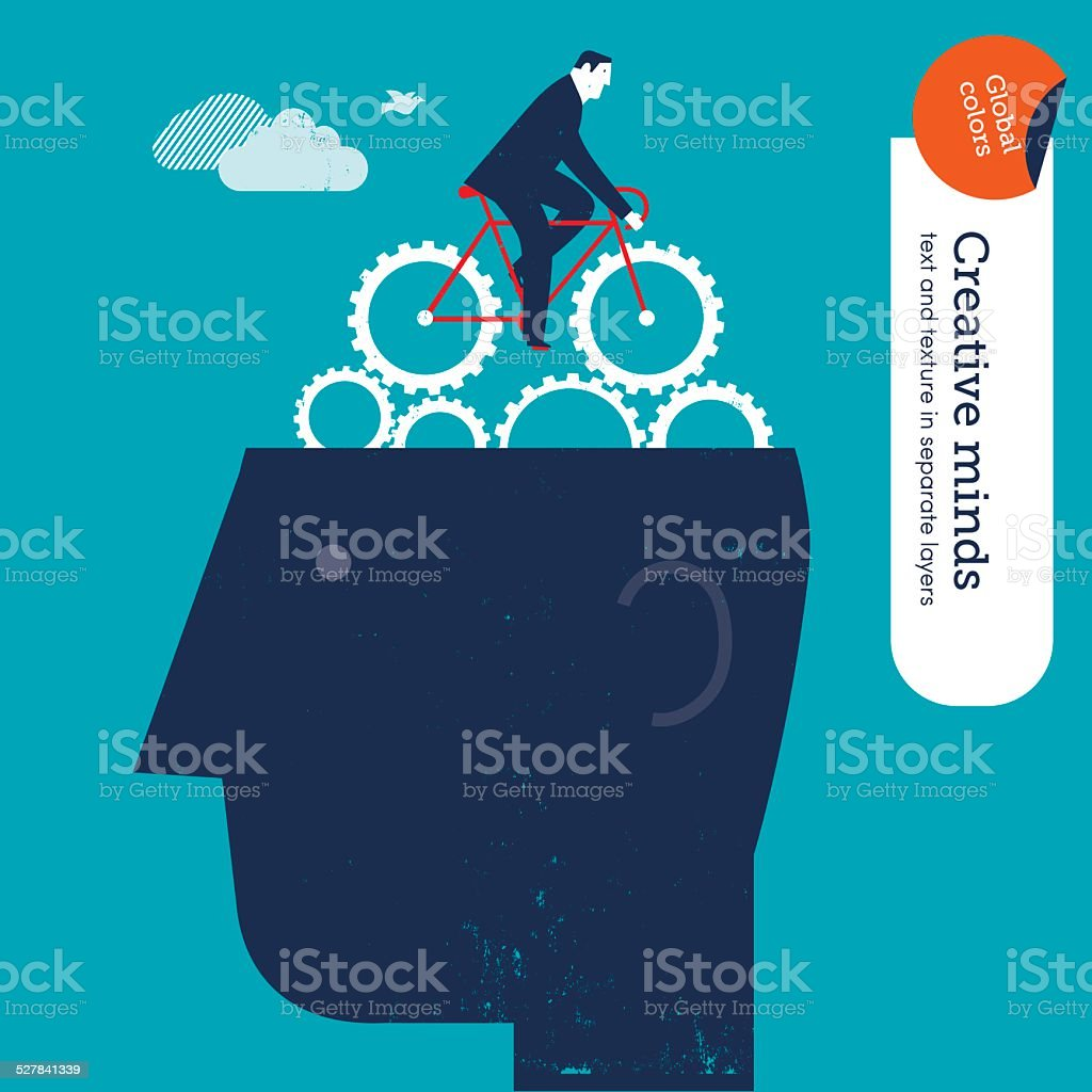 Businessman riding a bike with gears on head vector art illustration