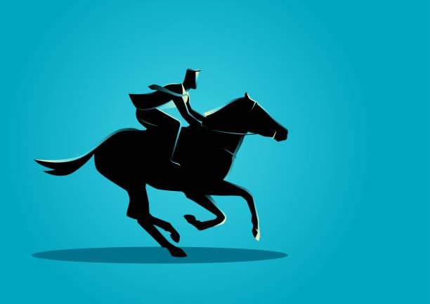 geschäftsmann, ein pferd zu reiten - reiter stock-grafiken, -clipart, -cartoons und -symbole