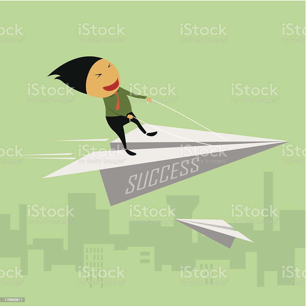 Businessman riding a paper airplane. royalty-free businessman riding a paper airplane stock vector art & more images of abstract