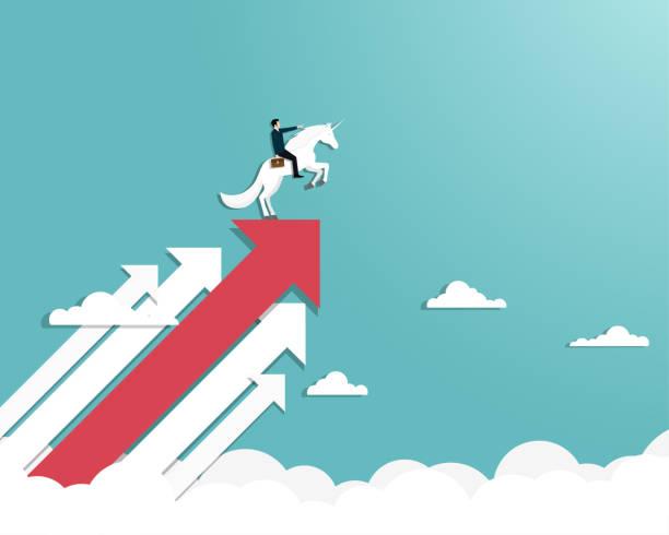 Businessman riding a unicorn on arrow Businessman riding a unicorn on arrow or symbol for a unicorn successful, Achievement, Leadership, Career, Vector illustration flat millionnaire stock illustrations