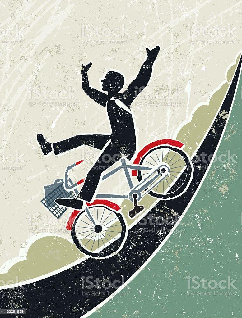 Businessman Riding Bicycle Down a Steep Hill 免版稅 businessman riding bicycle down a steep hill 向量插圖及更多 上下班的人 圖片