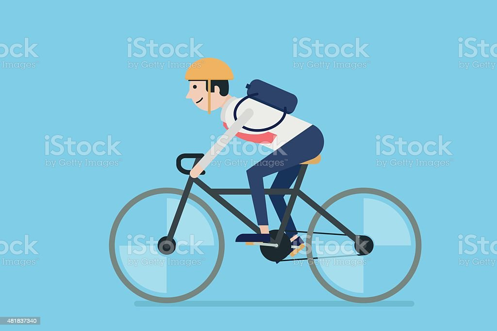 Businessman riding bicycle vector art illustration