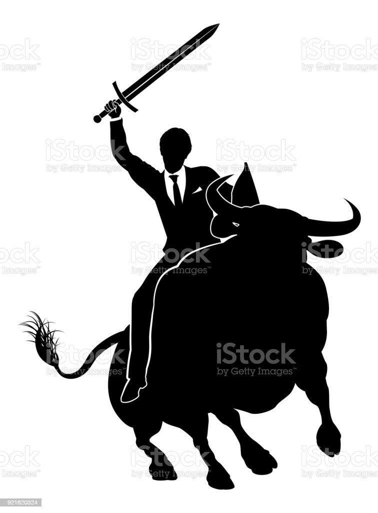 Businessman Riding Bull Concept vector art illustration