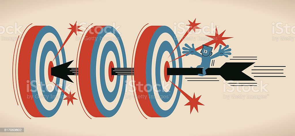 Businessman riding flying archery, shooting on Bull's-Eye of three target vector art illustration