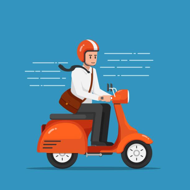 ilustrações de stock, clip art, desenhos animados e ícones de businessman riding motorcycle or scooter going to work. - helmet motorbike