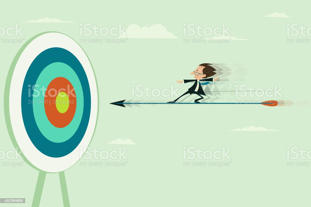 Businessman riding on Dart royalty-free stock vector art