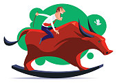 vector illustration of businessman riding on rocking bull