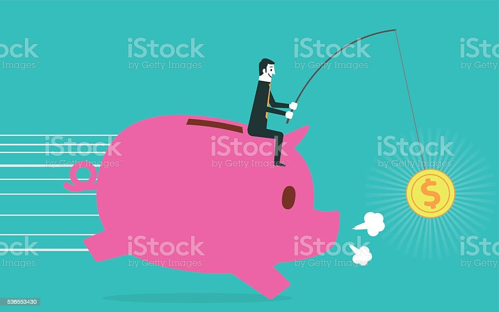 Businessman riding piggy bank vector art illustration